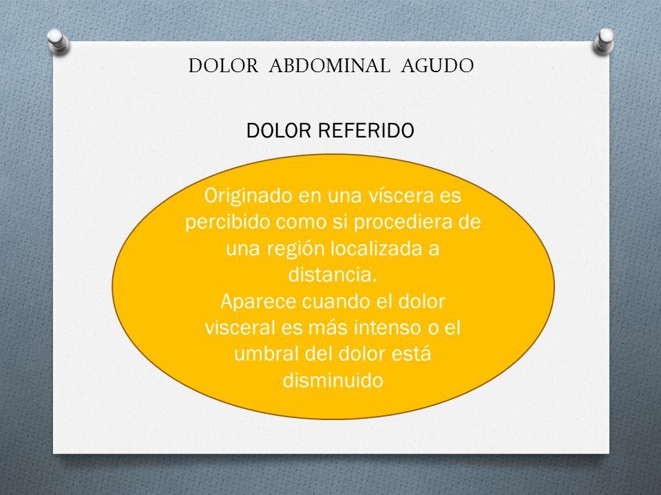 DOLOR ABDOMINAL AGUDO DOLOR REFERIDO. Originado en una víscera es percibido como si procediera de una región localizada a distancia.