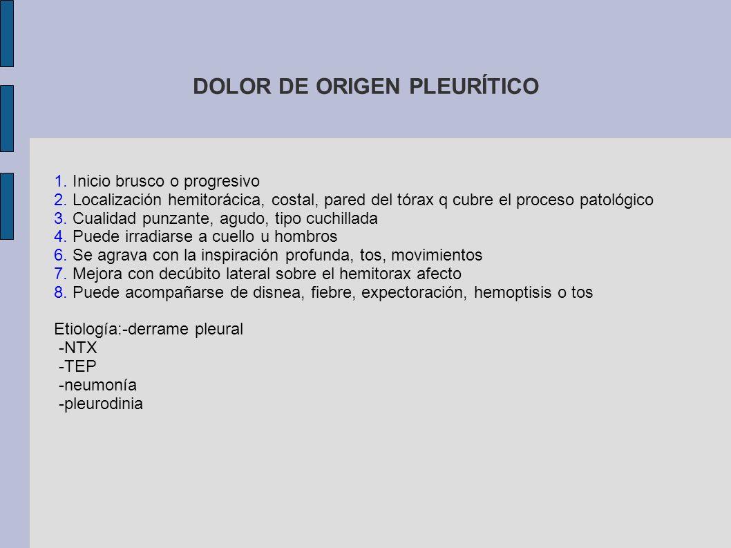 DOLOR DE ORIGEN PLEURÍTICO
