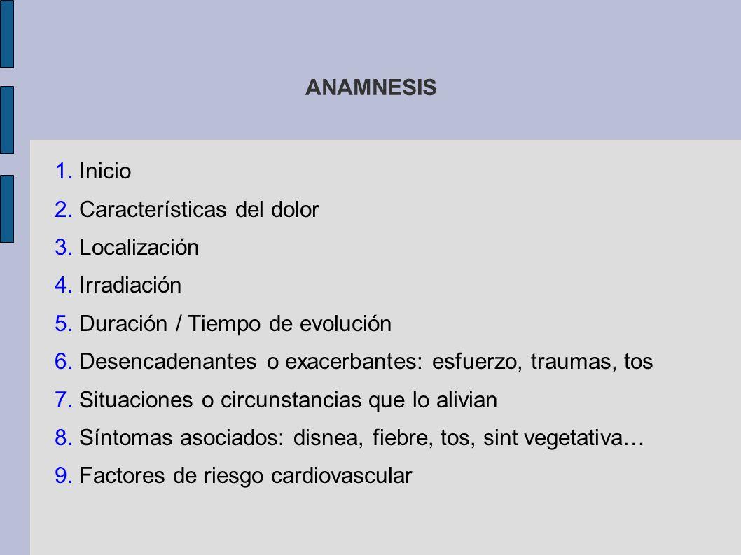 ANAMNESIS 1. Inicio. 2. Características del dolor. 3. Localización. 4. Irradiación. 5. Duración / Tiempo de evolución.