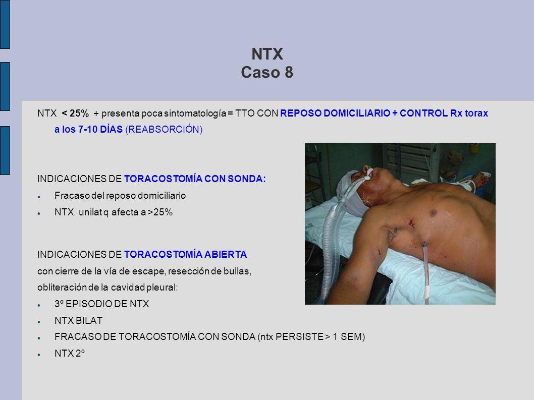 NTX Caso 8NTX < 25% + presenta poca sintomatología = TTO CON REPOSO DOMICILIARIO + CONTROL Rx torax a los 7-10 DÍAS (REABSORCIÓN)