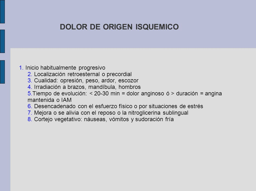 DOLOR DE ORIGEN ISQUEMICO