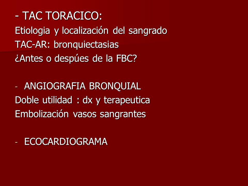 - TAC TORACICO: Etiologia y localización del sangrado