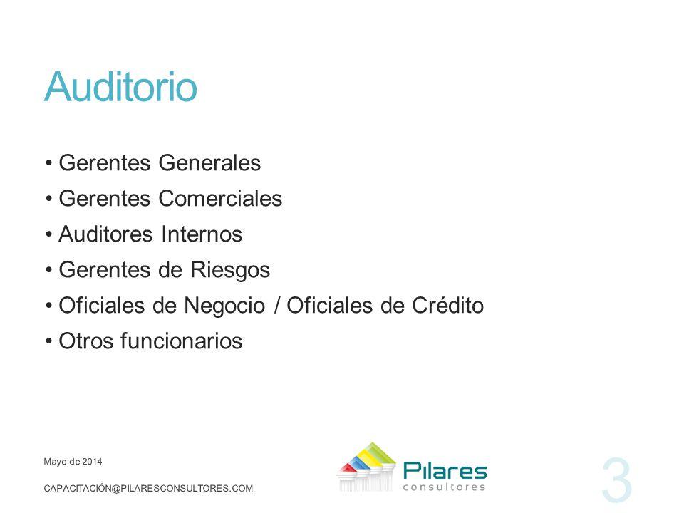 Auditorio Gerentes Generales Gerentes Comerciales Auditores Internos