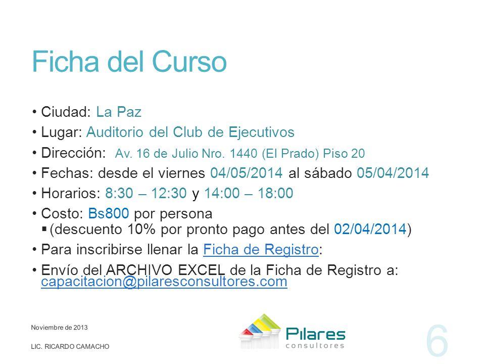 Ficha del Curso Ciudad: La Paz Lugar: Auditorio del Club de Ejecutivos