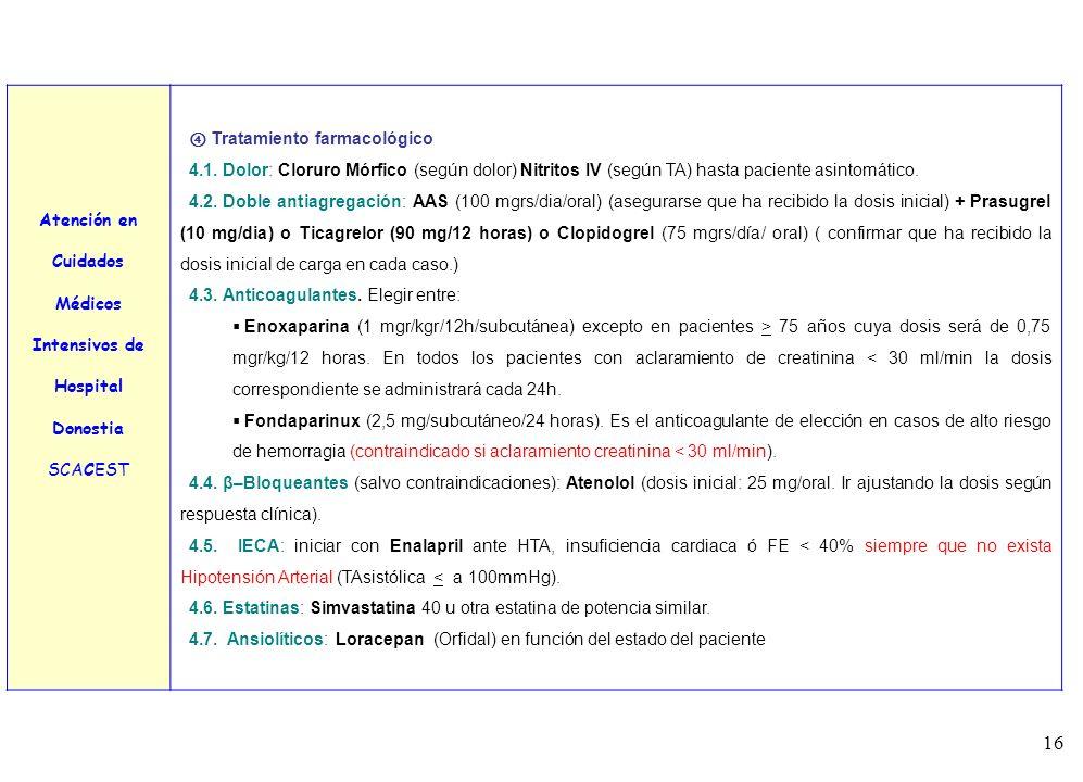 Atención en Cuidados Médicos. Intensivos de. Hospital Donostia. SCACEST. ④ Tratamiento farmacológico.