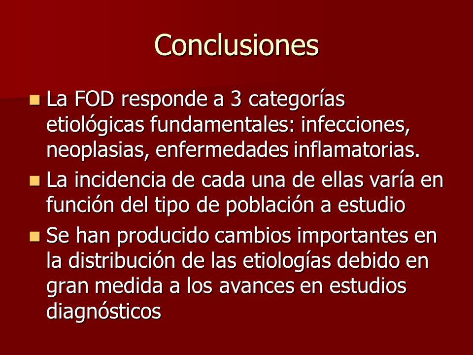 Conclusiones La FOD responde a 3 categorías etiológicas fundamentales: infecciones, neoplasias, enfermedades inflamatorias.