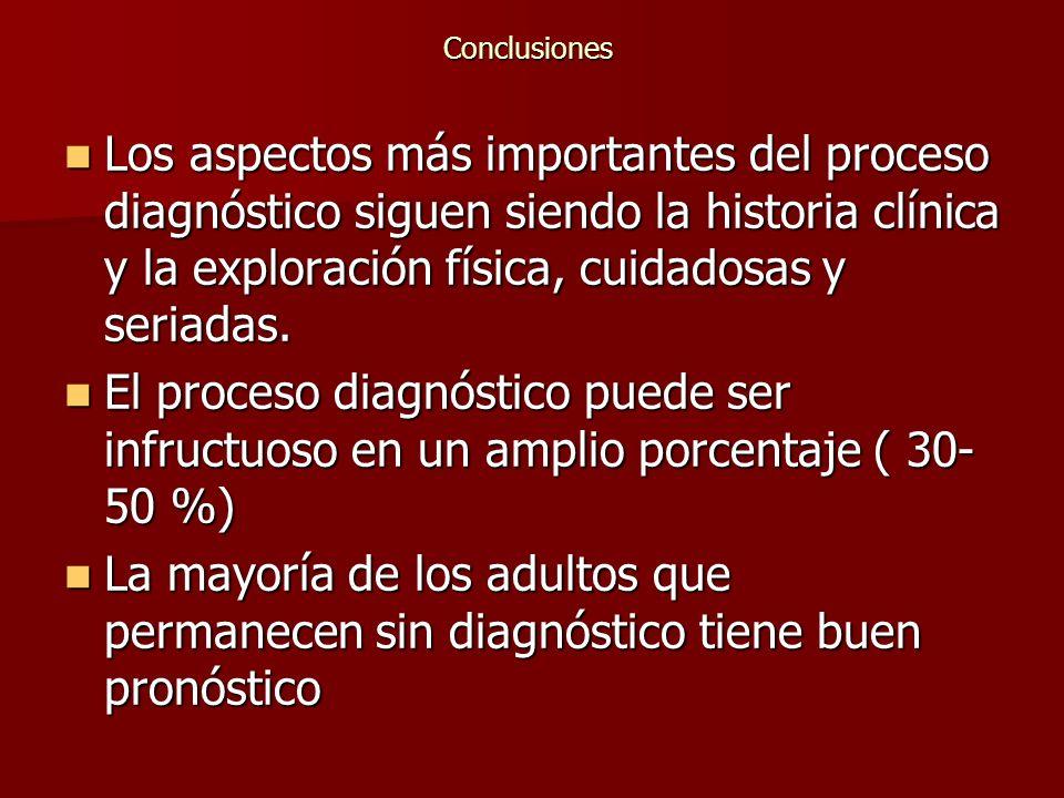 Conclusiones Los aspectos más importantes del proceso diagnóstico siguen siendo la historia clínica y la exploración física, cuidadosas y seriadas.