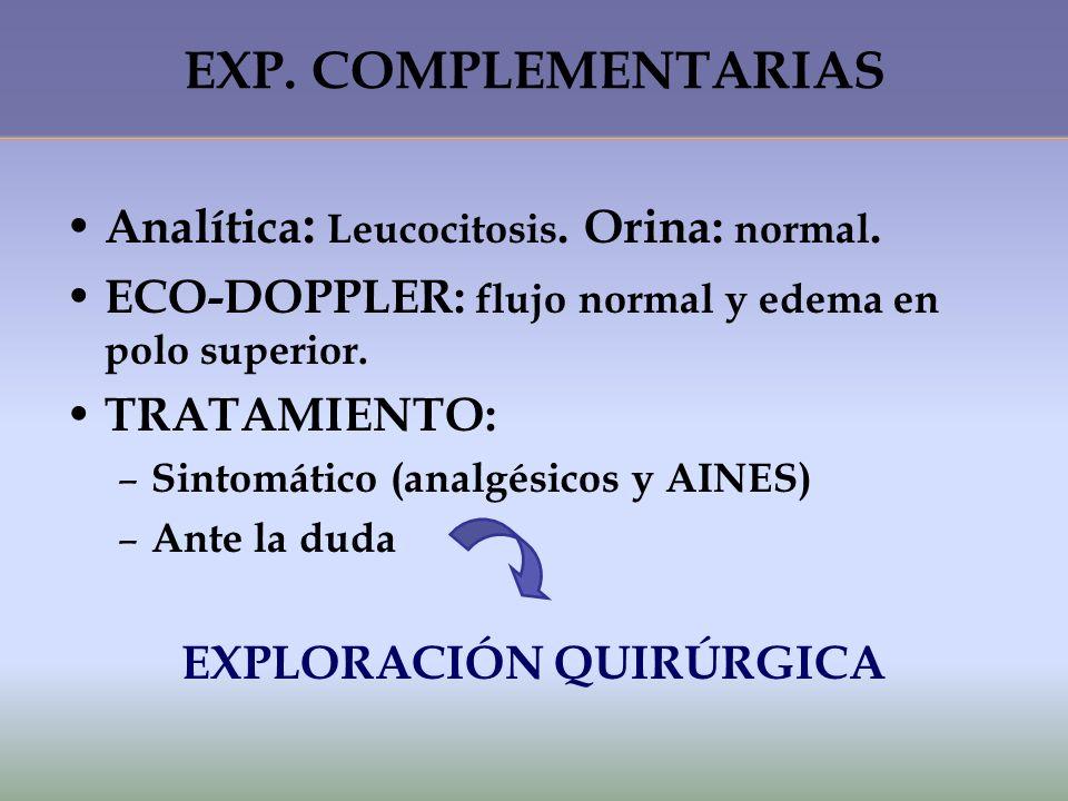 EXP. COMPLEMENTARIAS Analítica: Leucocitosis. Orina: normal.
