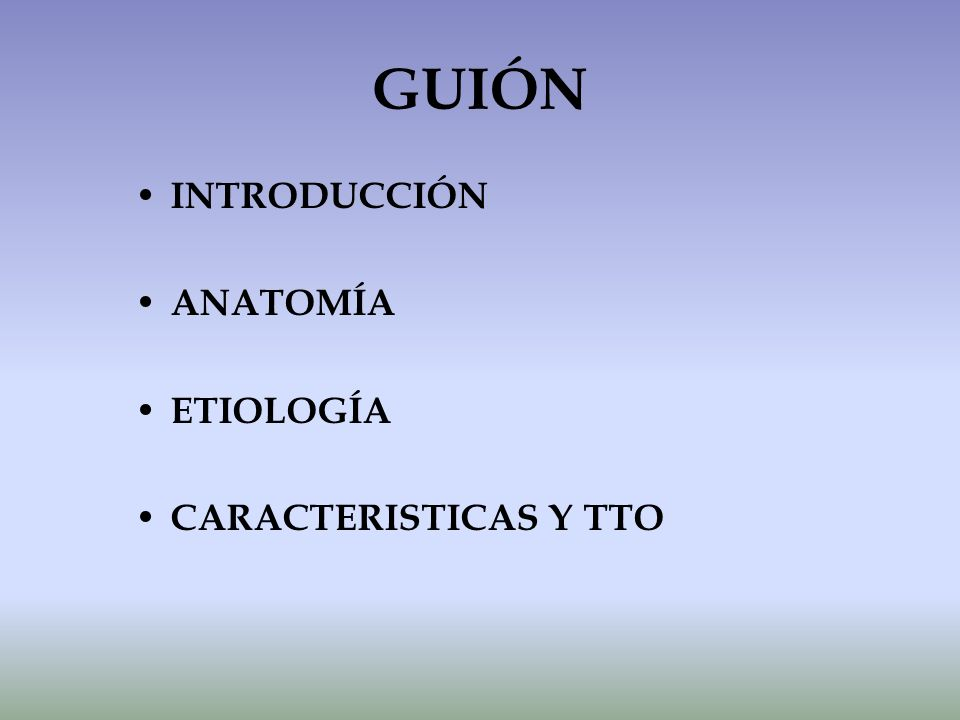 GUIÓN INTRODUCCIÓN ANATOMÍA ETIOLOGÍA CARACTERISTICAS Y TTO