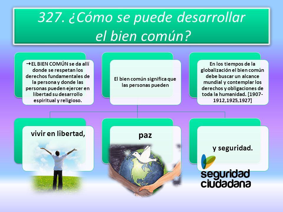 327. ¿Cómo se puede desarrollar el bien común