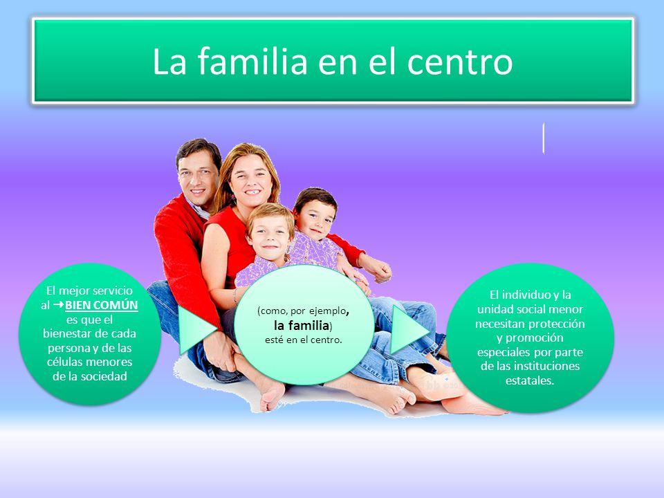 (como, por ejemplo, la familia) esté en el centro.