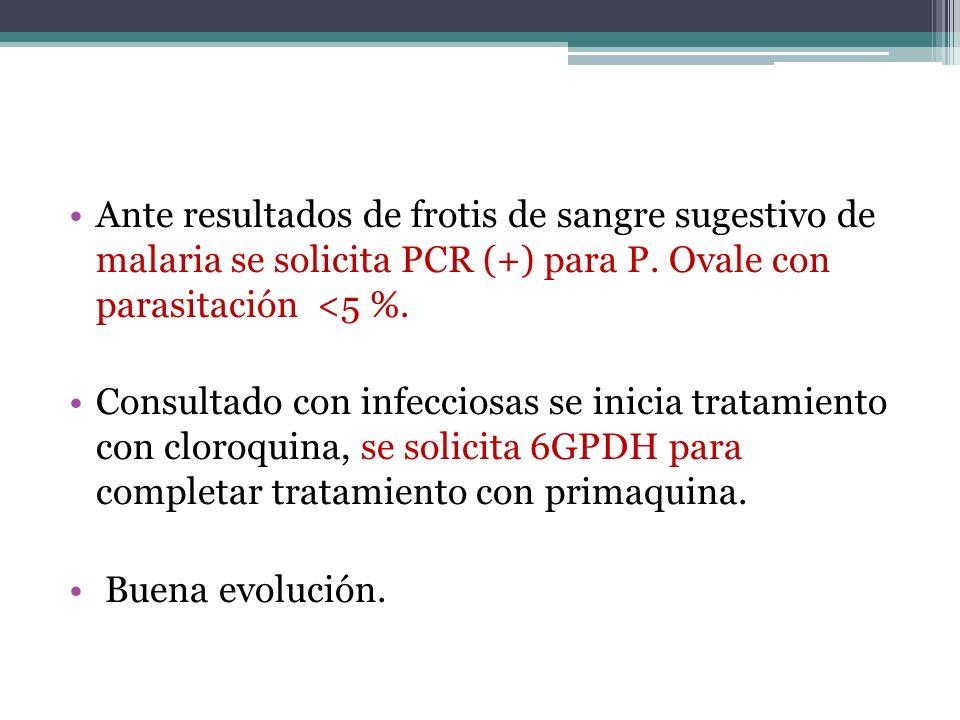 Ante resultados de frotis de sangre sugestivo de malaria se solicita PCR (+) para P. Ovale con parasitación <5 %.