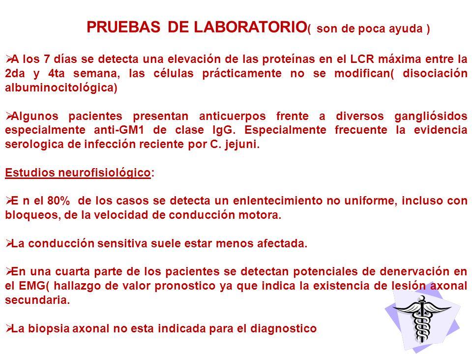 PRUEBAS DE LABORATORIO( son de poca ayuda )