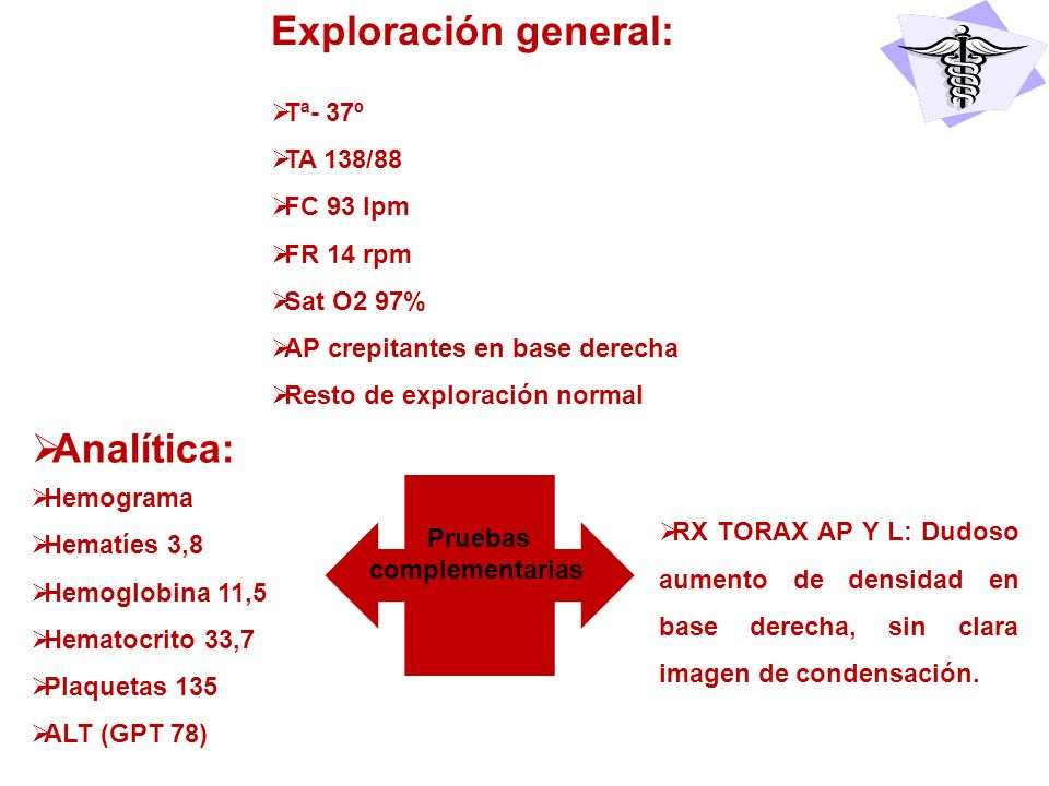 Exploración general: Analítica: Tª- 37º TA 138/88 FC 93 lpm FR 14 rpm
