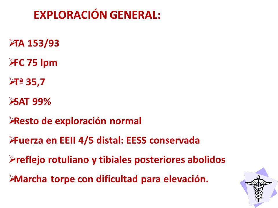 EXPLORACIÓN GENERAL: TA 153/93 FC 75 lpm Tª 35,7 SAT 99%