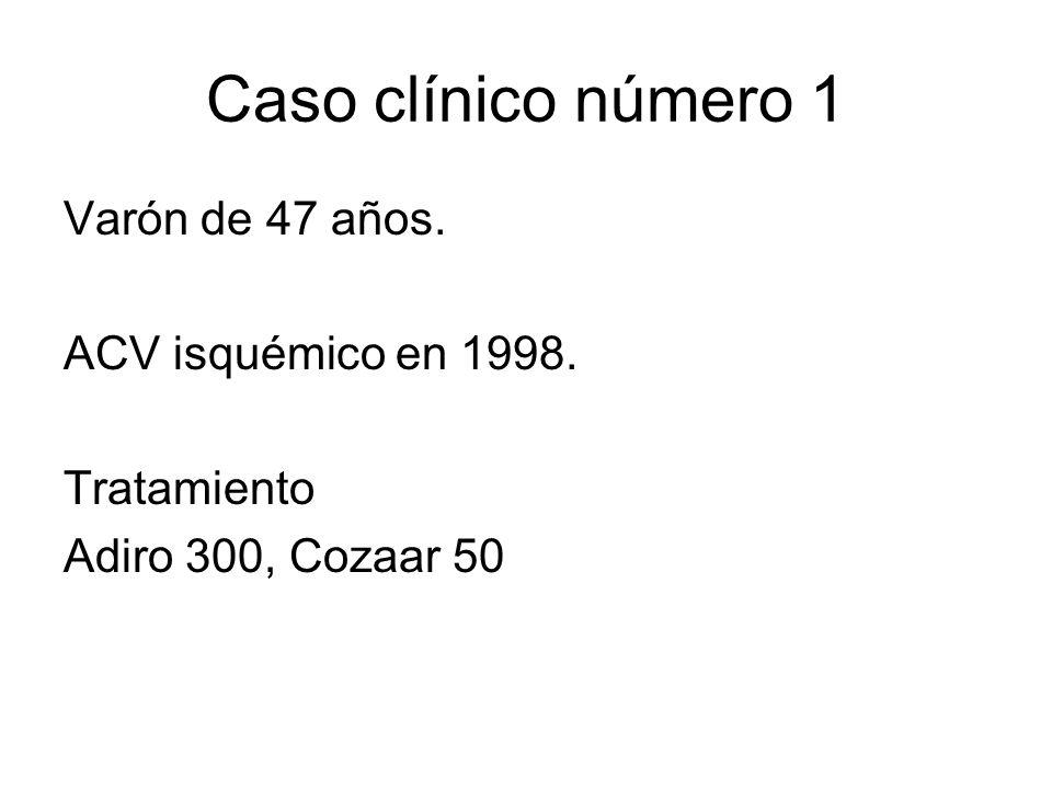 Caso clínico número 1 Varón de 47 años. ACV isquémico en 1998.
