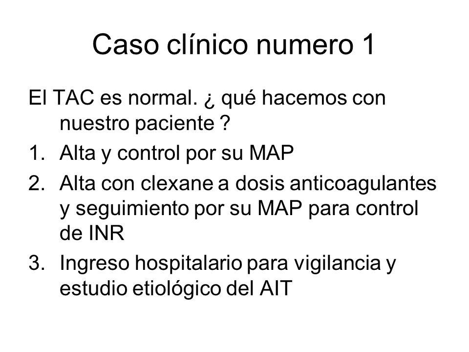 Caso clínico numero 1 El TAC es normal. ¿ qué hacemos con nuestro paciente Alta y control por su MAP.