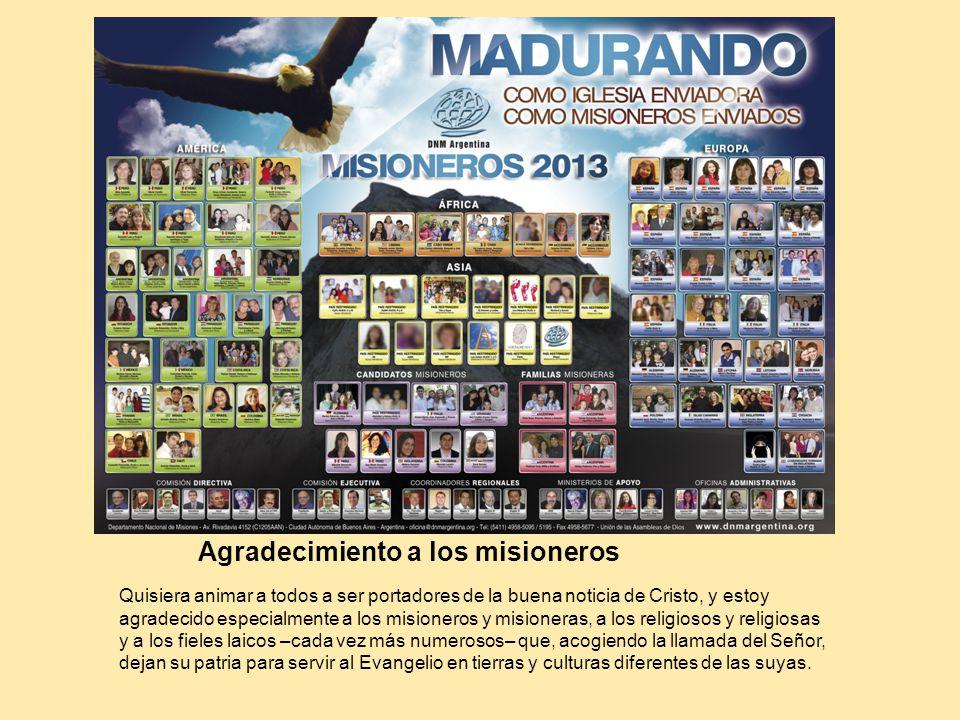 Agradecimiento a los misioneros