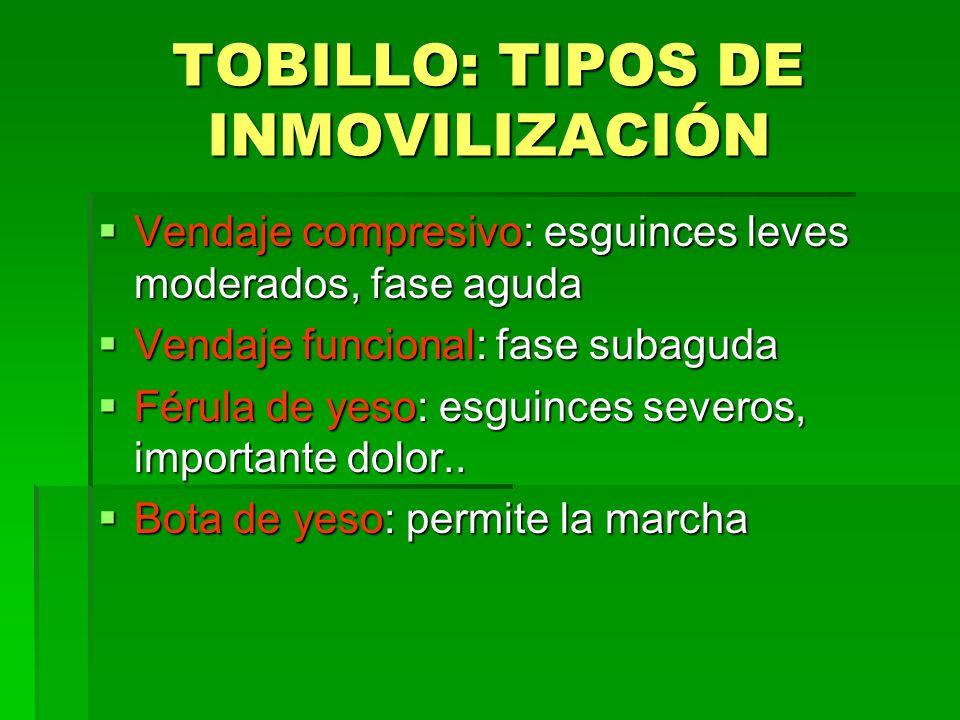 TOBILLO: TIPOS DE INMOVILIZACIÓN