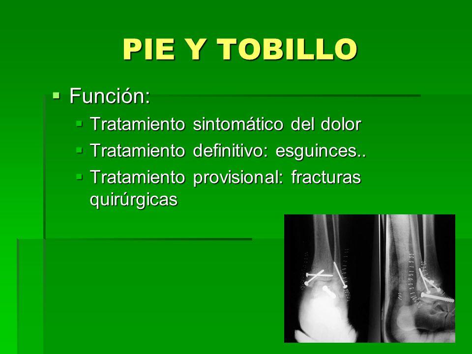PIE Y TOBILLO Función: Tratamiento sintomático del dolor