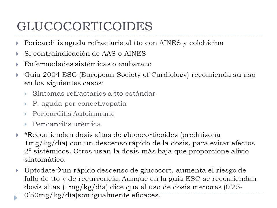 GLUCOCORTICOIDES Pericarditis aguda refractaria al tto con AINES y colchicina. Si contraindicación de AAS o AINES.