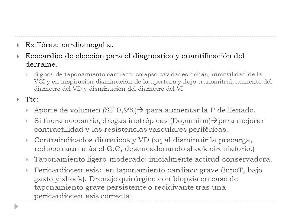 Rx Tórax: cardiomegalia.