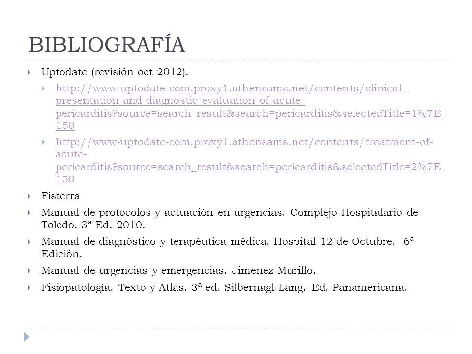 BIBLIOGRAFÍA Uptodate (revisión oct 2012).