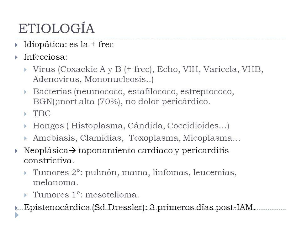 ETIOLOGÍA Idiopática: es la + frec Infecciosa: