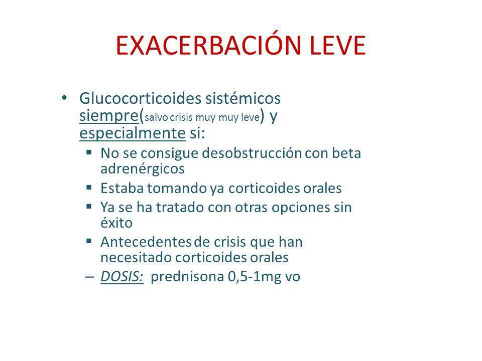 EXACERBACIÓN LEVE Glucocorticoides sistémicos siempre(salvo crisis muy muy leve) y especialmente si: