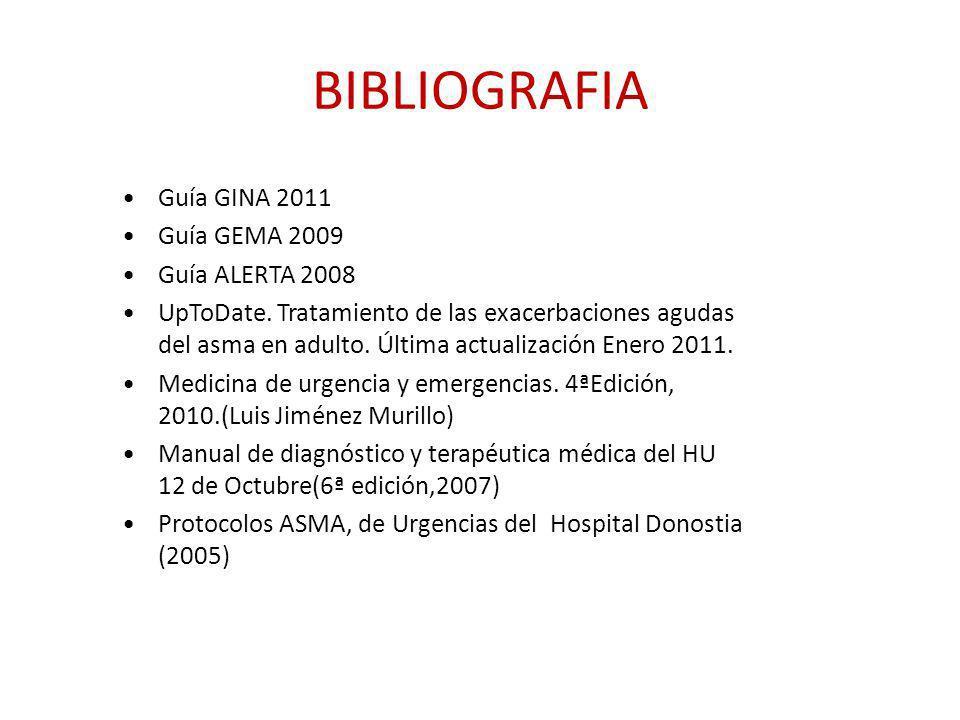 BIBLIOGRAFIA Guía GINA 2011 Guía GEMA 2009 Guía ALERTA 2008