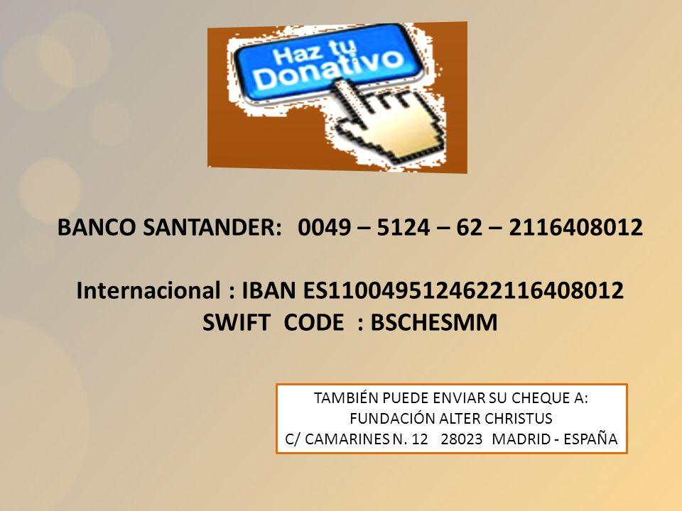 Internacional : IBAN ES1100495124622116408012