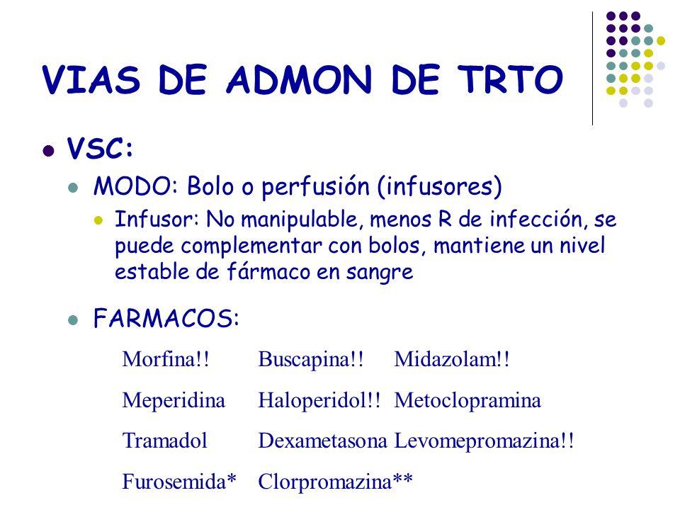 VIAS DE ADMON DE TRTO VSC: MODO: Bolo o perfusión (infusores)