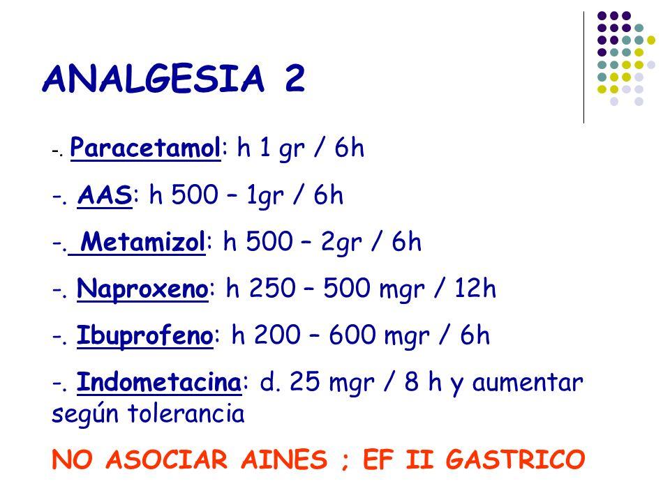 ANALGESIA 2 -. AAS: h 500 – 1gr / 6h -. Metamizol: h 500 – 2gr / 6h