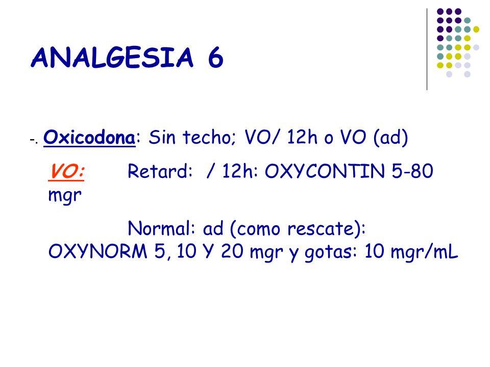 ANALGESIA 6 VO: Retard: / 12h: OXYCONTIN 5-80 mgr