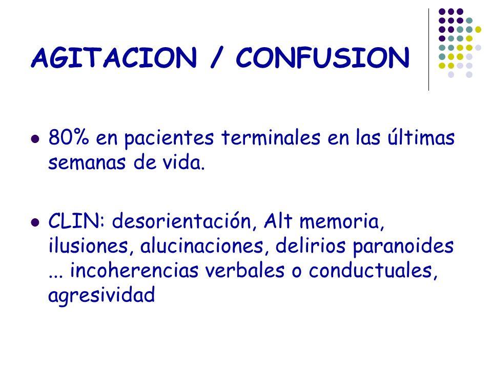 AGITACION / CONFUSION 80% en pacientes terminales en las últimas semanas de vida.