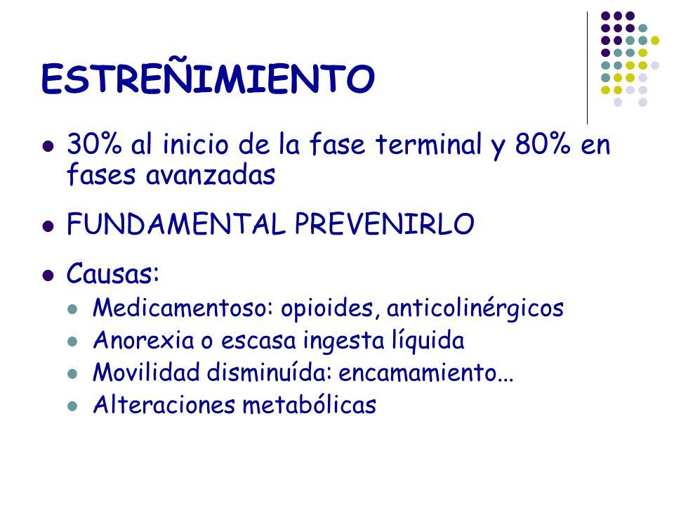 ESTREÑIMIENTO 30% al inicio de la fase terminal y 80% en fases avanzadas. FUNDAMENTAL PREVENIRLO. Causas: