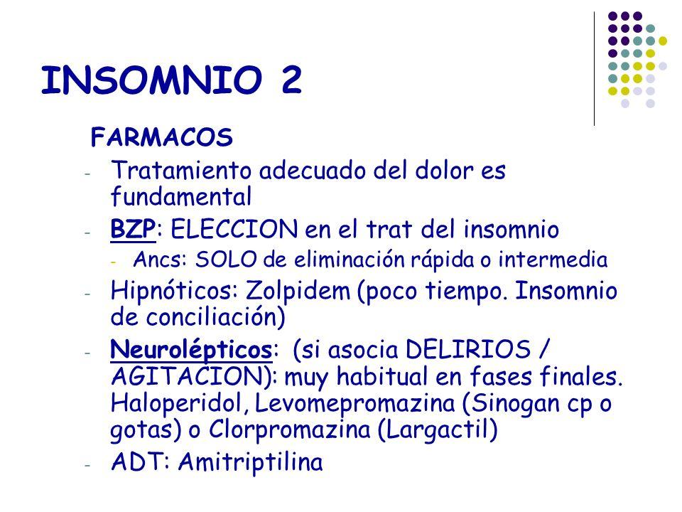 INSOMNIO 2 FARMACOS Tratamiento adecuado del dolor es fundamental