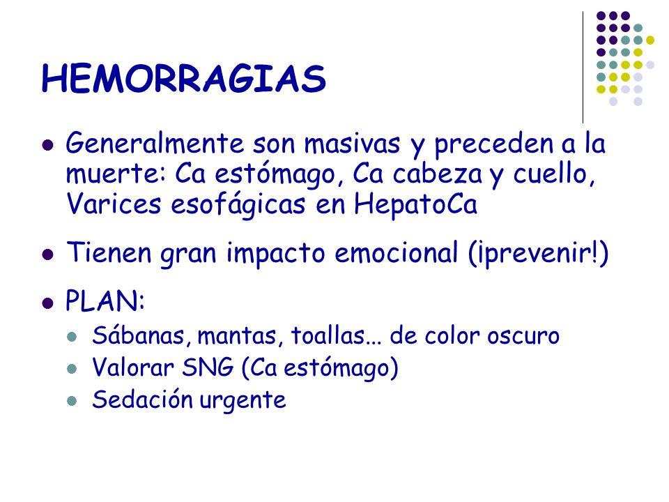 HEMORRAGIAS Generalmente son masivas y preceden a la muerte: Ca estómago, Ca cabeza y cuello, Varices esofágicas en HepatoCa.