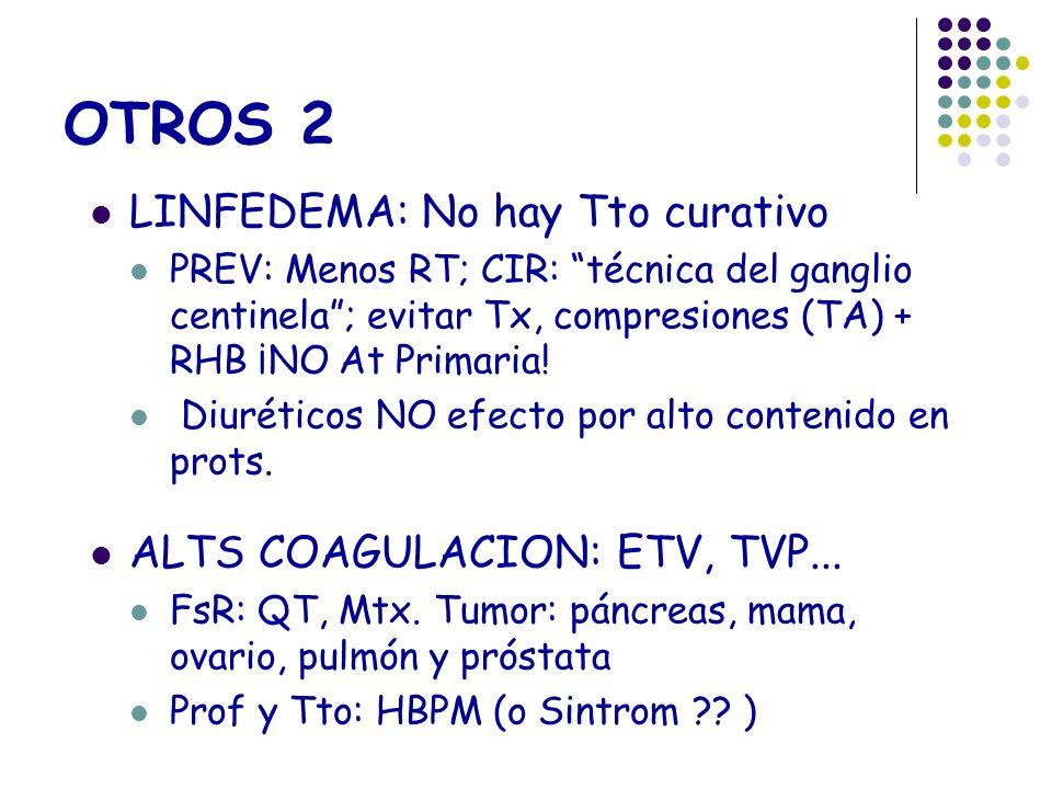 OTROS 2 LINFEDEMA: No hay Tto curativo ALTS COAGULACION: ETV, TVP...