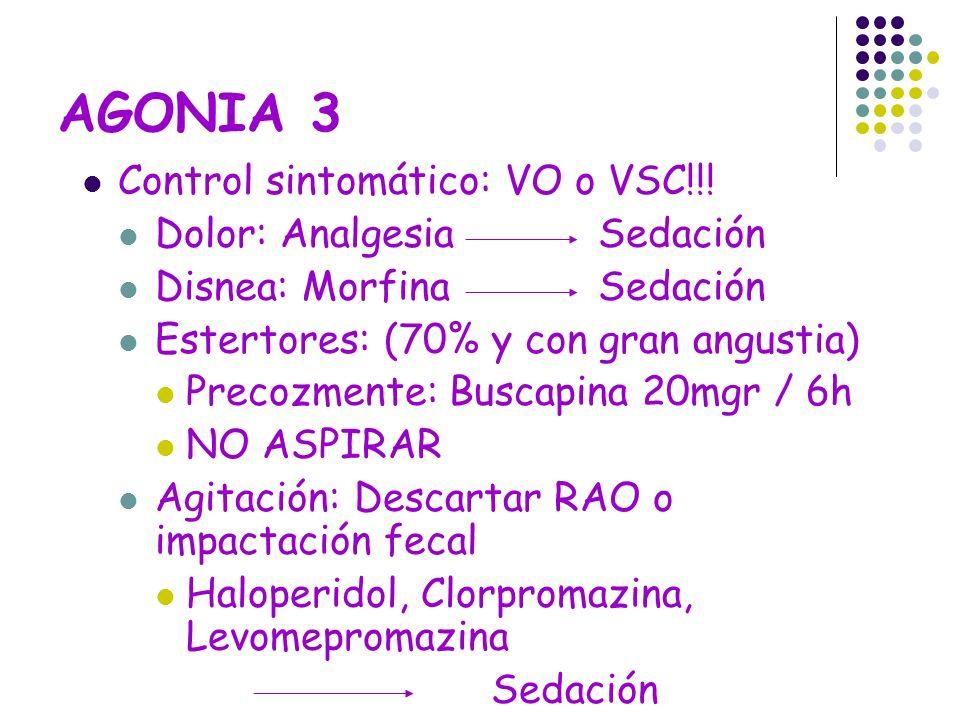 AGONIA 3 Control sintomático: VO o VSC!!! Dolor: Analgesia Sedación