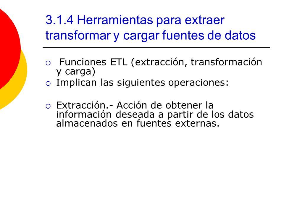 3.1.4 Herramientas para extraer transformar y cargar fuentes de datos