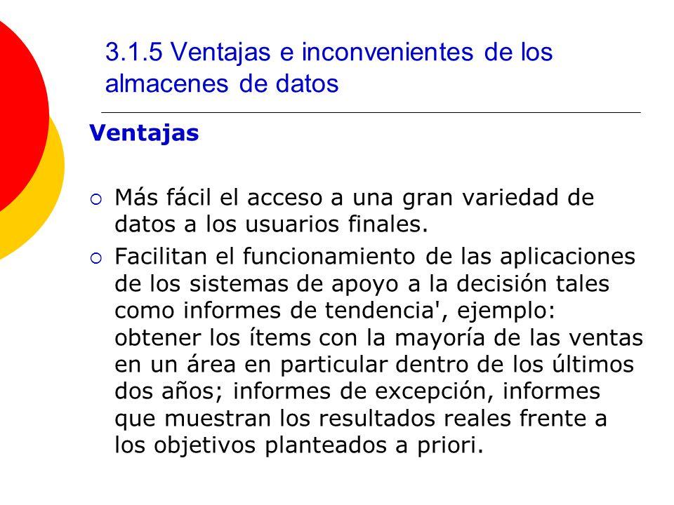 3.1.5 Ventajas e inconvenientes de los almacenes de datos
