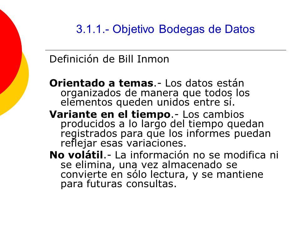 3.1.1.- Objetivo Bodegas de Datos