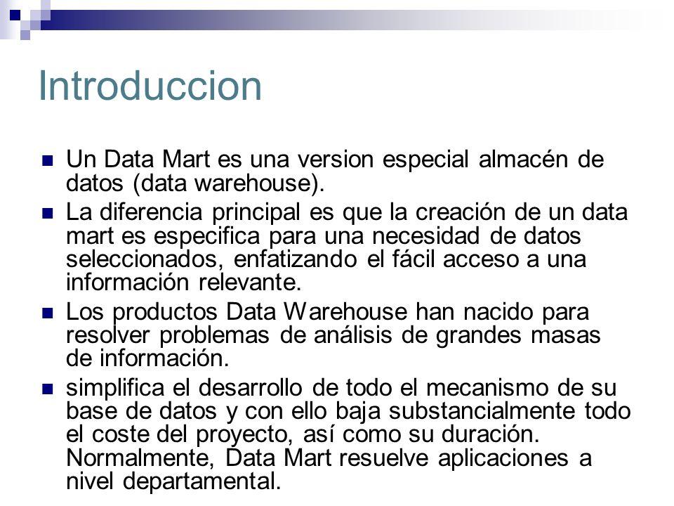 IntroduccionUn Data Mart es una version especial almacén de datos (data warehouse).