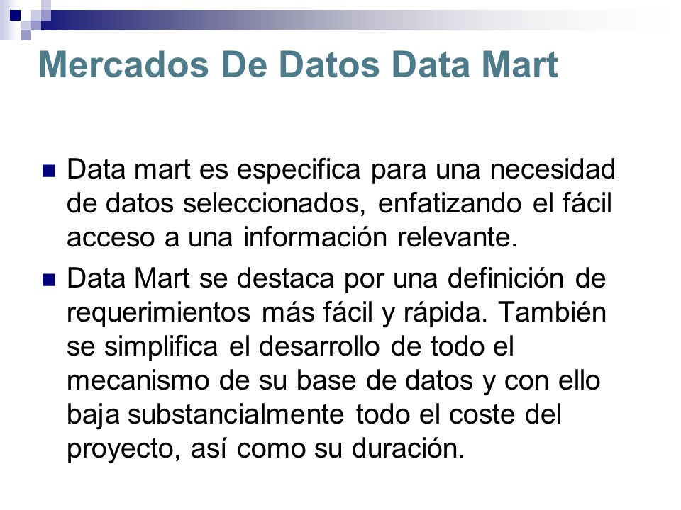 Mercados De Datos Data Mart