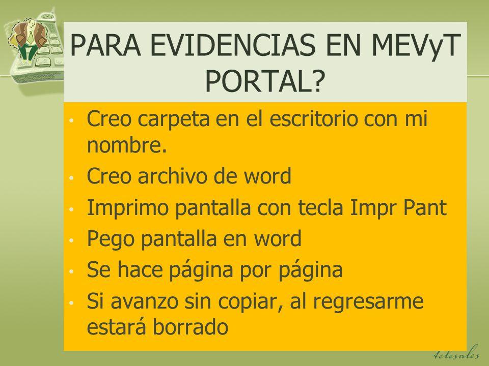 PARA EVIDENCIAS EN MEVyT PORTAL