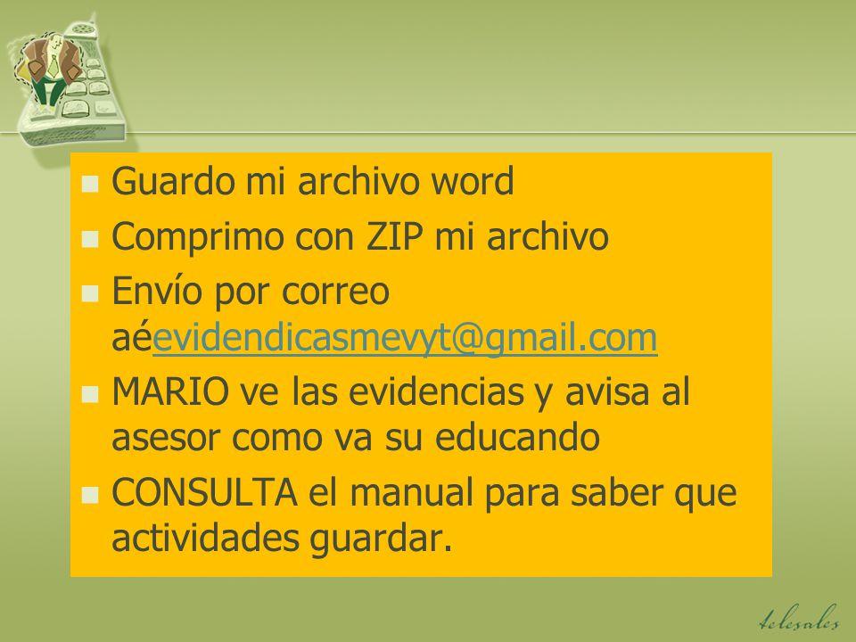 Guardo mi archivo word Comprimo con ZIP mi archivo. Envío por correo aéevidendicasmevyt@gmail.com.