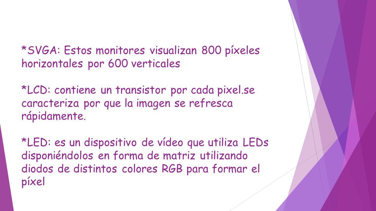 *SVGA: Estos monitores visualizan 800 píxeles horizontales por 600 verticales *LCD: contiene un transistor por cada pixel.se caracteriza por que la imagen se refresca rápidamente.