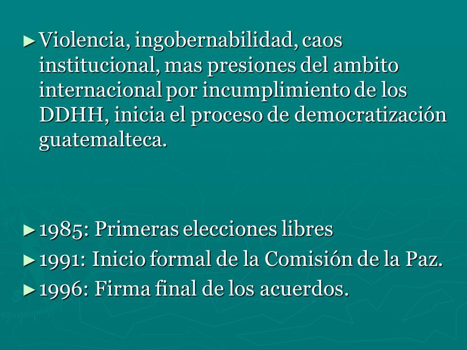 Violencia, ingobernabilidad, caos institucional, mas presiones del ambito internacional por incumplimiento de los DDHH, inicia el proceso de democratización guatemalteca.