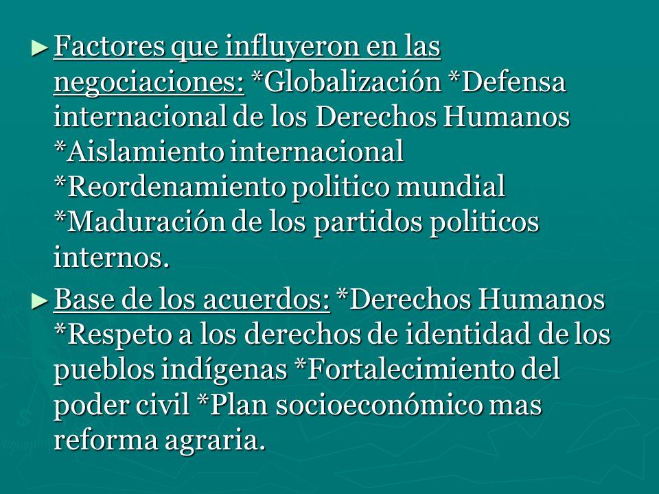 Factores que influyeron en las negociaciones:. Globalización